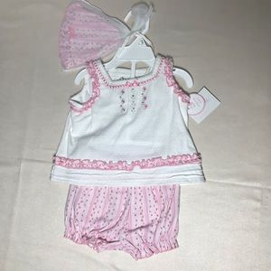 Girls Infant Baby 3 pc Shirt Hat Shorts Outfit NWT